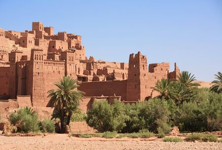 fortified: The fortified town of Ait ben Haddou near Ouarzazate on the edge of the sahara desert in Morocco.