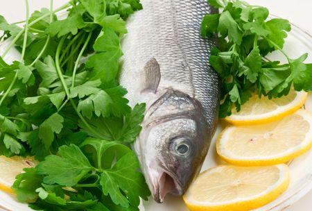 seabass: labrax peces en un plato blanco sobre un fondo blanco. Foto de archivo