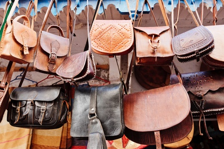 made in morocco: Leather bags in a market in the street