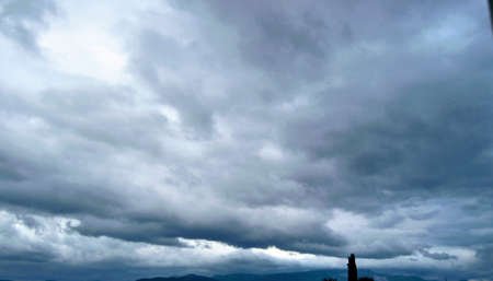 Heavy clouds during overcast weather in Bursa sky. Turkey