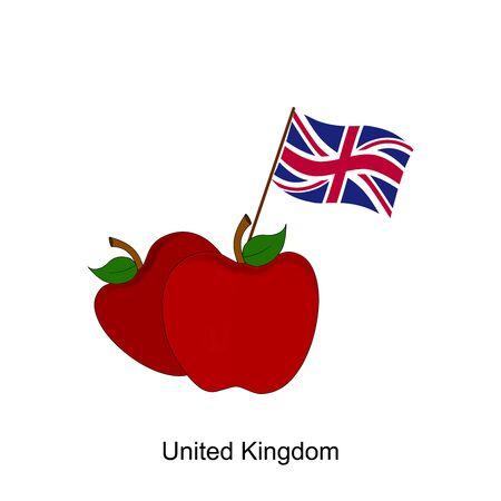 Illustration of Apple, United Kingdom Flag, Apple with United Kingdom Flag