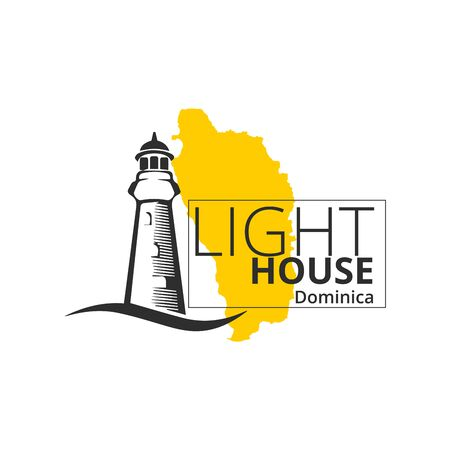 Lighthouse Dominica Map Background Illustration