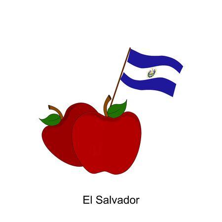 bandera de el salvador: Illustration of Apple, El Salvador Flag, Apple with El Salvador Flag