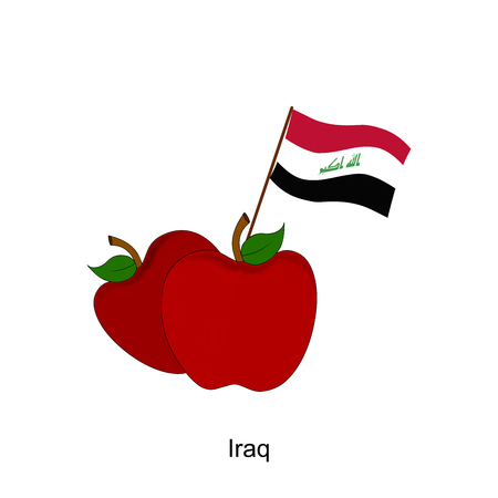 iraq flag: Illustration of Apple, Iraq Flag, Apple with Iraq Flag