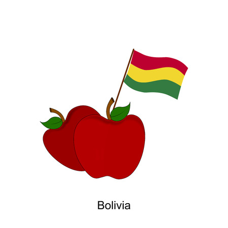 bandera de bolivia: Illustration of Apple, Bolivia Flag, Apple with Bolivia Flag