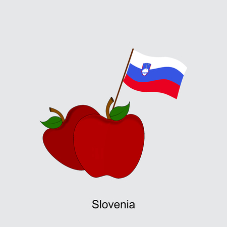 Illustration of Apple, Slovenia Flag, Apple with Slovenia Flag
