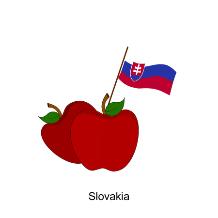 Illustration of Apple, Slovakia Flag, Apple with Slovakia Flag