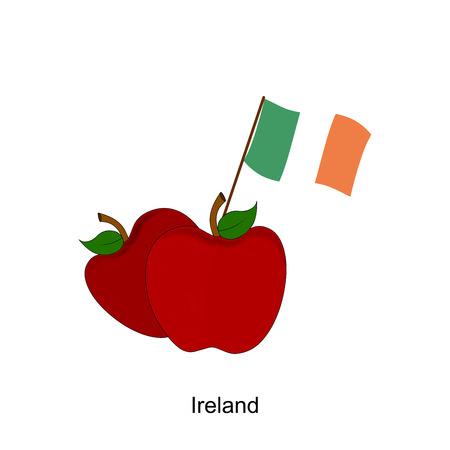 Illustration of Apple, Ireland Flag, Apple with Ireland Flag