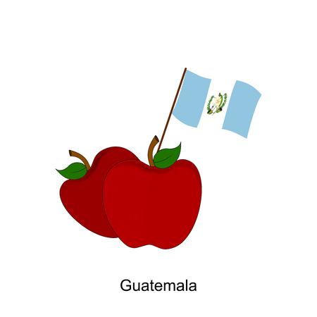 bandera de guatemala: Illustration of Apple, Guatemala Flag, Apple with Guatemala Flag