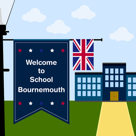 school: Welcome to School Bournemouth, Vertical Flag and United Kingdom Flag