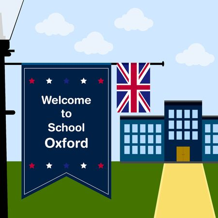 oxford: Welcome to School Oxford, Vertical Flag and United Kingdom Flag Illustration