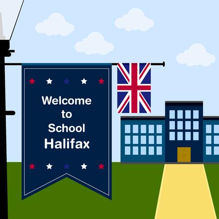 halifax: Welcome to School Halifax, Vertical Flag and United Kingdom Flag