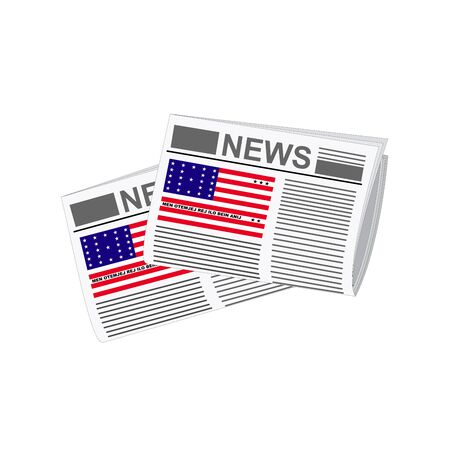 atoll: Illustration of Newspapers, Newspapers with Bikini Atoll Flags