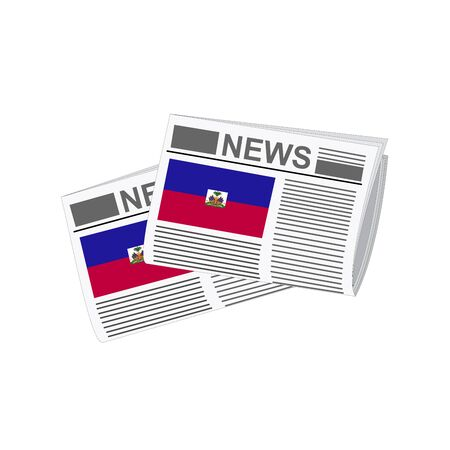 folded paper: Illustration of Newspapers, Newspapers with Haiti Flags
