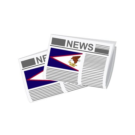 folded paper: Illustration of Newspapers, Newspapers with American Samoa Flags Illustration