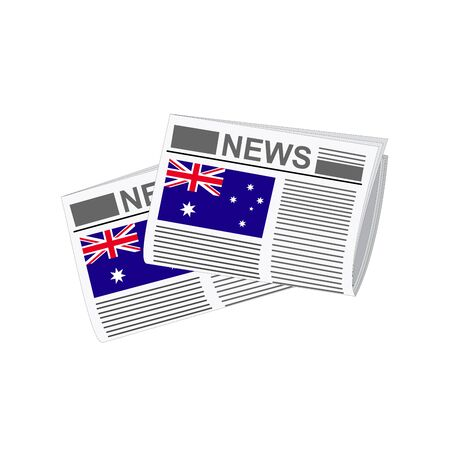 folded paper: Illustration of Newspapers, Newspapers with Australia Flags