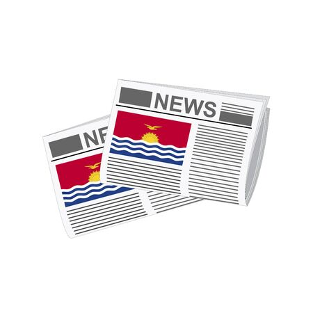 Illustration of Newspapers, Newspapers with Kiribati Flags