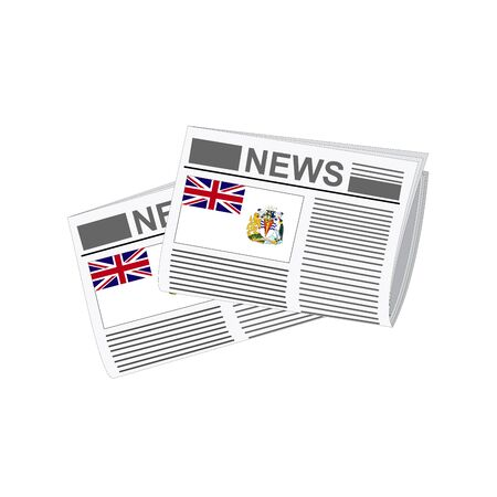 antarctic: Illustration of Newspapers, Newspapers with British Antarctic Territory Flags Illustration