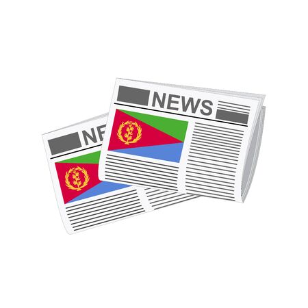 eritrea: Illustration of Newspapers, Newspapers with Eritrea Flags