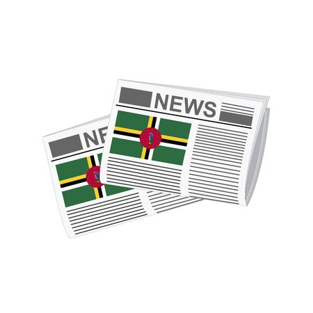 Illustration of Newspapers, Newspapers with Dominica Flags Illustration