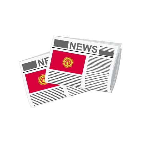 Illustration of Newspapers, Newspapers with Kyrgyzstan Flags Illustration