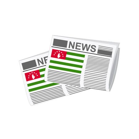 folded paper: Illustration of Newspapers, Newspapers with Abkhazia Flags Illustration