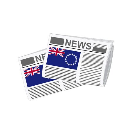 folded paper: Illustration of Newspapers, Newspapers with Cook Islands Flags