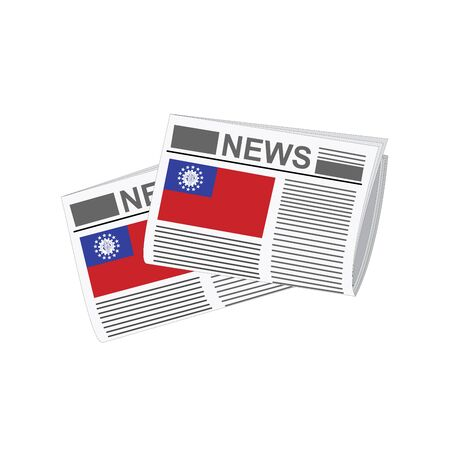 folded paper: Illustration of Newspapers, Newspapers with Myanmar - Burma Flags