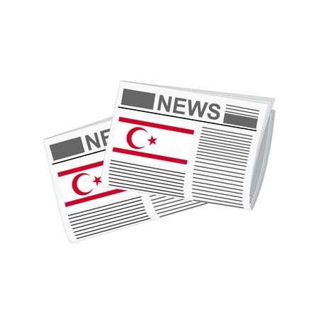 folded paper: Illustration of Newspapers, Newspapers with Turkish Republic of Northern Cyprus Flags