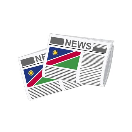 folded paper: Illustration of Newspapers, Newspapers with Namibia Flags