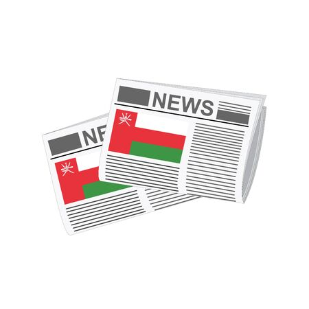 oman background: Illustration of Newspapers, Newspapers with Oman Flags Illustration