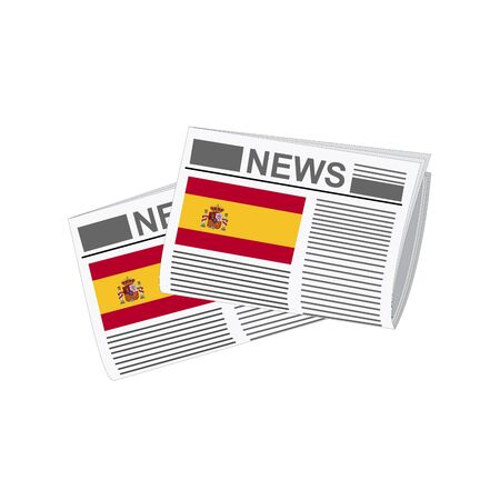 folded paper: Illustration of Newspapers, Newspapers with Spain Flags