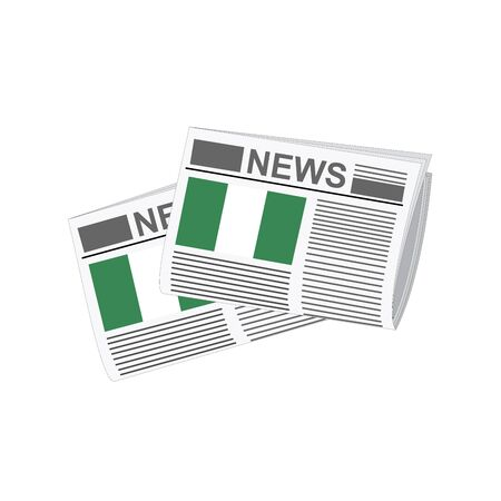 folded paper: Illustration of Newspapers, Newspapers with Nigeria Flags