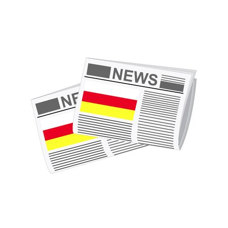 folded paper: Illustration of Newspapers, Newspapers with South Ossetia Flags