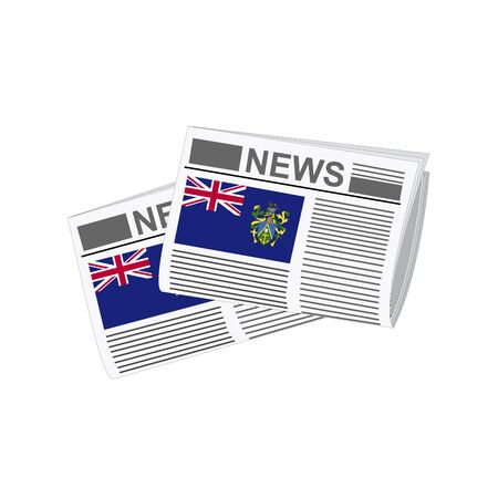 pitcairn: Illustration of Newspapers, Newspapers with Pitcairn Islands Flags