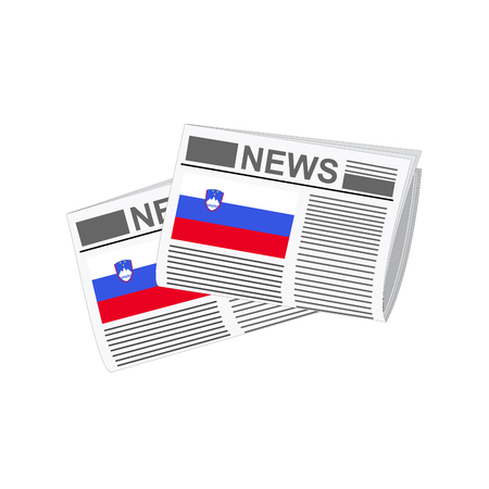 folded paper: Illustration of Newspapers, Newspapers with Slovenia Flags