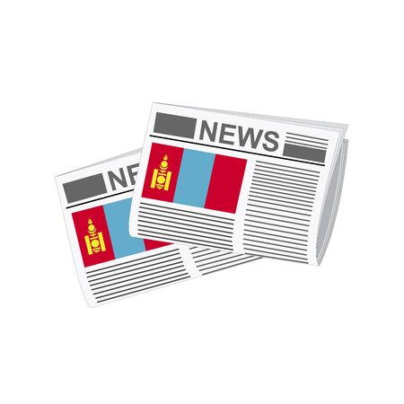 folded paper: Illustration of Newspapers, Newspapers with Mongolia Flags