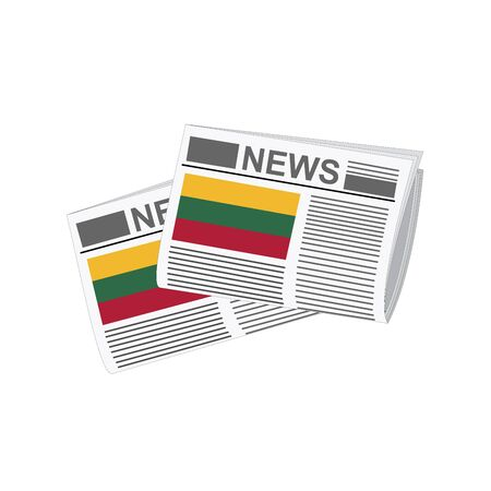 lithuania: Illustration of Newspapers, Newspapers with Lithuania Flags Illustration