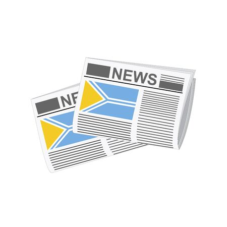 folded paper: Illustration of Newspapers, Newspapers with Tuva Flags Illustration