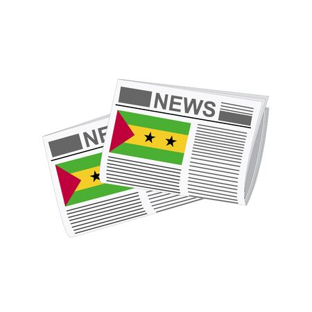 Illustration of Newspapers, Newspapers with Sao Tome and Principe Flags