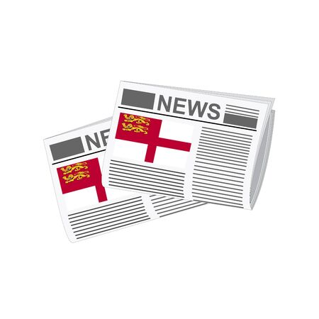 folded paper: Illustration of Newspapers, Newspapers with Sark Flags