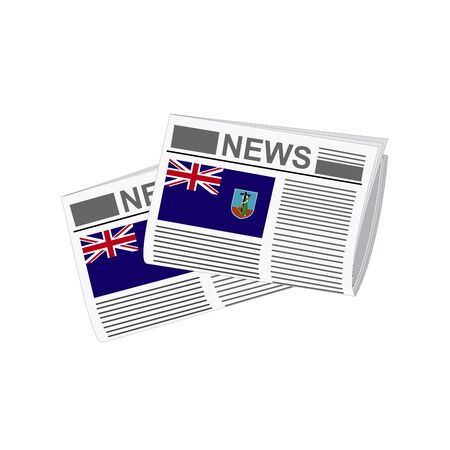 montserrat: Illustration of Newspapers, Newspapers with Montserrat Flags