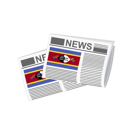 folded paper: Illustration of Newspapers, Newspapers with Swaziland Flags