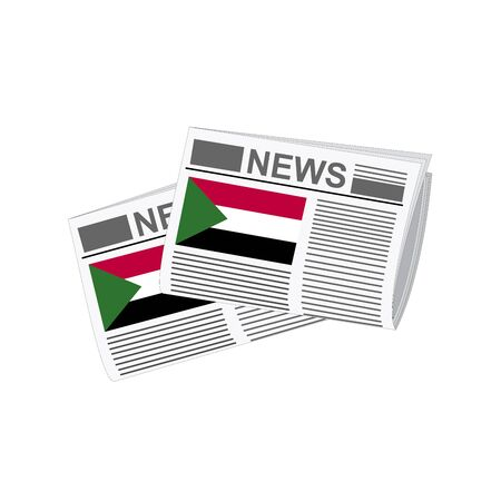 Sudan: Illustration of Newspapers, Newspapers with Sudan Flags