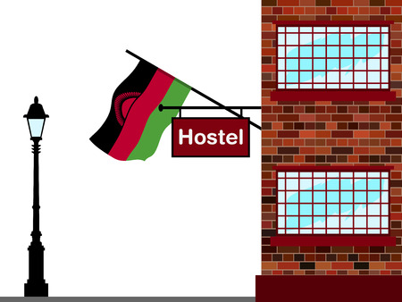 Illustration of hostel with Malawi flag Illustration