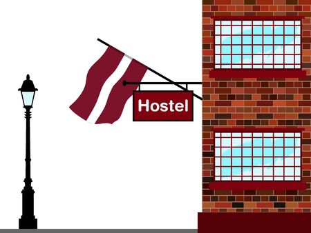 Illustration of Hostel, Hostel with Latvia Flag