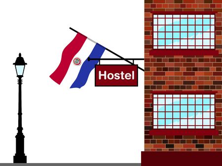 Illustration of Hostel, Hostel with Paraguay Flag