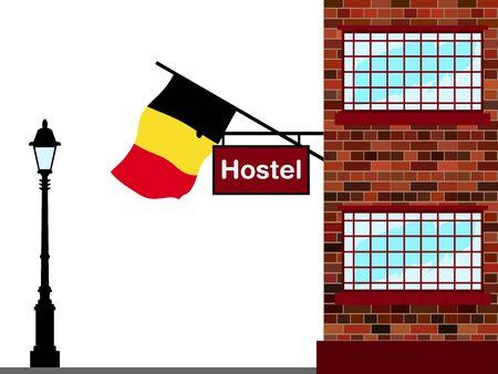 hospedaje: Ilustración del albergue, albergue con la bandera de Bélgica