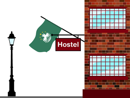 Illustration of Hostel, Hostel with Macau Flag