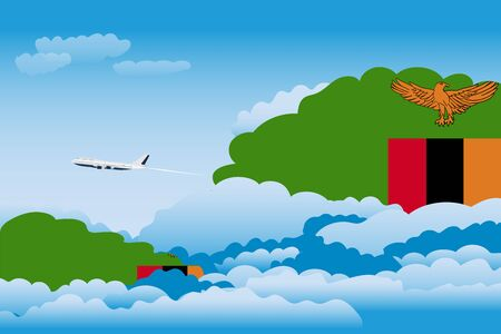 Illustration of Clouds, Clouds with Zambia Flags, Aeroplane Flying